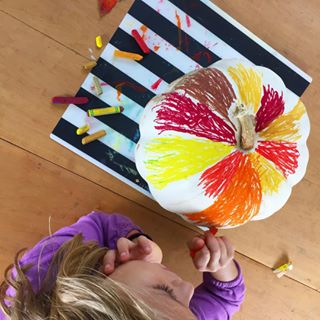 "We're coloring one of our white pumpkins with oil pastels!! (Crayons work surprisingly well, too, btw.) . How are you decorating your pumpkins this year? Search ""pumpkin decorating ideas"" on The Artful Parent if you need any kid-friendly ideas... I have lots!"