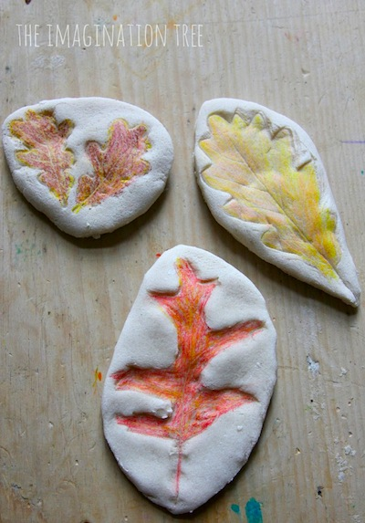 salt dough leaf prints
